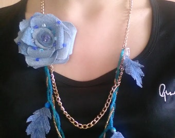 Denim necklace ,Upcycled jewelry , Long jeans necklace, Recycled textile jewelry, Shabby chic necklace, Denim accessories.