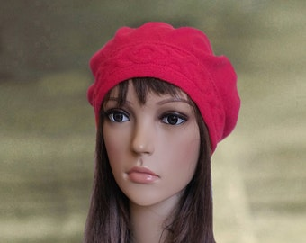 Red knit beret, Womens beret knitted, Knit beret women, Light weight beret, Women's beret trendy, Knitted wool beret, Red hat beret