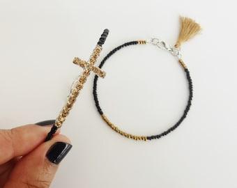 Set 2 bracelets, black and gold