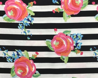 Black White Stripe Floral Rose Neon Pink Blue Fabric Apparel Quilting 100% Cotton Fabric Yard BTY