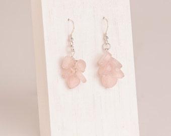Rose Quartz Zig-Zag Earrings