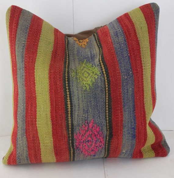 Red And Yellow Decorative Pillows : Red and Yellow Striped Kilim Pillow Cover Turkish Throw