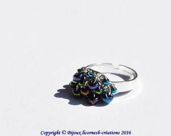 Ring adjustable, glass beads. LBC210316B