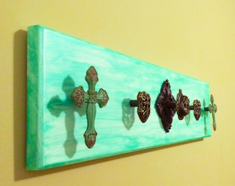 "Wall Rack for Hanging Coats, Jewelry, Scarfs, Accessories or Just Decorative - Turquoise  ""Weathered Look"" w/Decorative Knobs/Crosses"