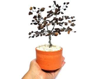 Tiger eye tree sculpture, wire tree, gem tree, wire art sculpture, home decor, office decor, shelf decor, wire bonsai, free shipping