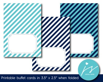 Turquoise and navy blue printable food labels with stripes, Food tent cards Foldable food buffet cards and labels Striped place cards TC-204