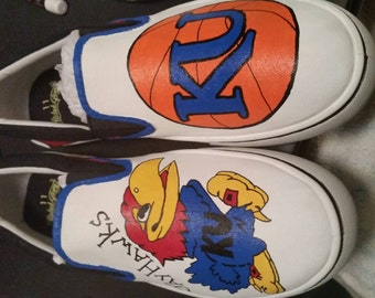 Kansas Jayhawks Handpainted Shoes