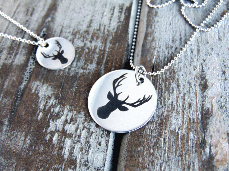 Deer Necklace - Steel, Gold or Rose Gold - Stag/Deer/Antler ...