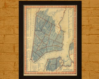 Old Map New York 1846 - Printed On Textured Bamboo Poster Ancient Old Map Print Antique Map New York Poster Gift Idea New York Prints