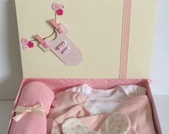 Pink Girls Personalised Baby Shower Gift Hamper Box