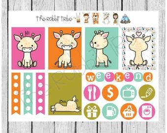 Weekly sticker set - kawaii giraffes - planner stickers
