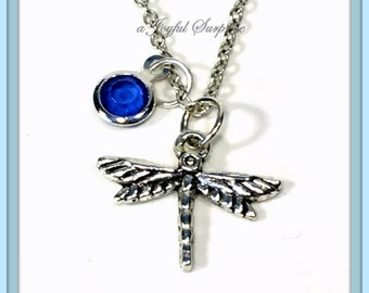 SALE Dragonfly Necklace, Dragon Fly Gift Gardeners Jewelry, Dragonflies Secret Sister Birthday Present Christmas with birthstone choice 79