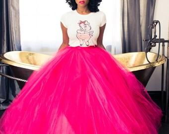 Kelis Tulle Skirt Tutu Hot Pink | Fuschia Skirt Floor length  Full Tulle