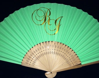 Personalised wedding fans - bride/grooms initials ONLY. No minimum order. Worldwide delivery