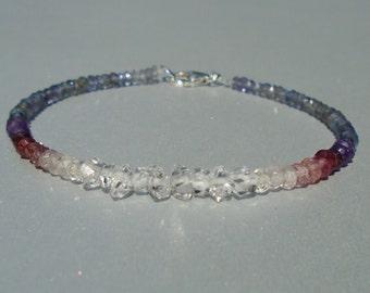 Herkimer Diamond Bracelet, Iolite Bracelet, Shaded Toumaline Bracelet, Ombre Bracelet, Dainty Beaded Bracelet, Blue Bracelet, Gemstone