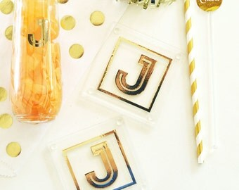 Monogram Coasters (Set of 2) - Bridesmaids Gifts - Bridal Party Gifts - Maid of Honor - Wedding Favors