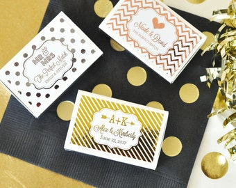 50 Metallic Foil Personalized Wedding Match Boxes - Wedding, Gold, Rose Gold or Silver Foil Metallic Favors - (set of 50)