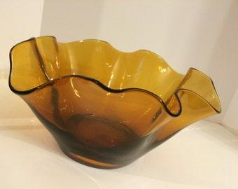 Amazing Vintage Large Amber Glass Serving Bowl