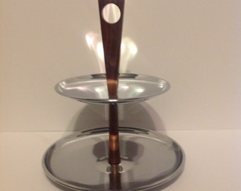 Mid Century Stainless/Wood 2 Tier Serving Tray