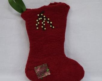 Christmas Stocking, wet felted