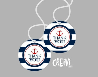Instant Download Red, Navy Nautical Boy baby shower, Favor tags, Thank You Tags Boy baby shower tags, DIY, Printable ( NA001)