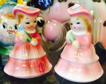 PY Southern Belle Ladies in Pink Salt and Pepper Shakers made in Japan circa 1950's