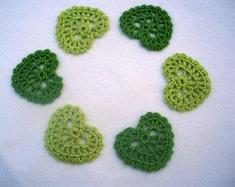 Crochet heart appliques / Decorative motifs / Set of 6 / Green, light green