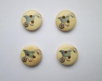 Wheelbarrow 4 wooden buttons 15 mm Ø