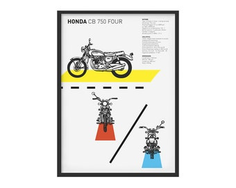 Honda CB 750 four subject graphic poster