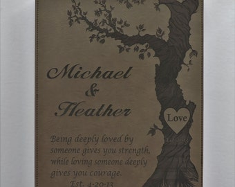 9th Anniversary Leather Gift, 3rd Anniversary Gift Love poem for Wedding Couple, Engraved Leather By Forever Me Gifts