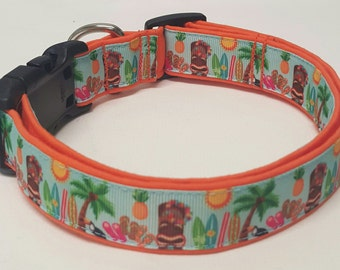 Surfs Up, Hang 10, Palm Tree, Surfboard Dog Collar
