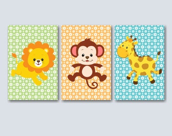 Animals Wall Art,Jungle Nursery Wall Art, Jungle Animals Nursery Wall Art, Safari Wall Art,Safari Nursery Decor-  UNFRAMED Set of 3