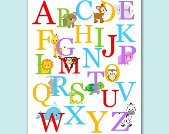 Great Animals Alphabet Wall Art,Animals Nursery Wall Art,Safari Nursery Wall Art ,Animals Part 28