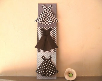 Collage of three origami dresses, black and white , graphic prints , wall decor