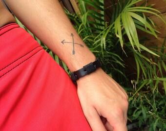 SALE 70% mens black leather Bracelet