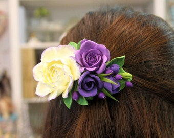Flower barrette, handmade floral hair accessories, wedding flower jewelry, bridesmaid jewelry, gift for her, birthday gift