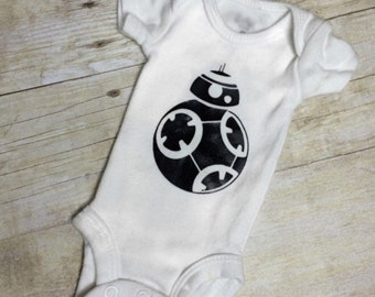 BB-8 Baby onesie Star Wars Baby onesie black and white The Force Awakens size preemie to 18 months