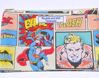 Super Hero 'Ellis Pencil Case, handmade pencil case, fabric pencil case