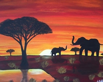 Acrylic painting ' Contemplation '/ elephants in the sunset