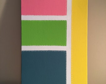 """Pink, green, blue & yellow, abstract acrylic painting, """"Bouncing Baby"""", 10x20"""