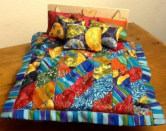 "1/12 scale ""Oriental Blue"" patchwork quilt with 3 cushions & 2 pillows, fully reversible means more choice for you!"