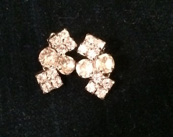 Vintage Rhine stone clip earrings
