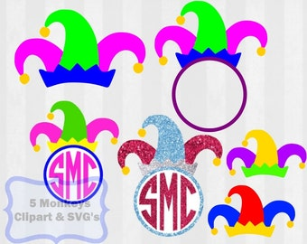 Mardi Gras SVG, Joker hat svg, Mardi Gras theme, svg files for silhouette cameo, cricut explore, svg mardi gras, monogram frame, monogram