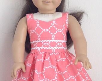 "18"" Doll Dress - Handmade to fit like American Girl Clothes or an American Girl Doll Dress - Hair Ribbon"