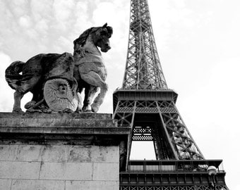 Eiffel Tower, black and white, Paris, France, 8x10, wall art, photo