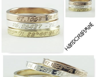Coordinates Ring / Latitude Longitude Ring / Personalized Latitude Longitude Jewelry / Location Ring / stamped ring / personalized ring.FT 4