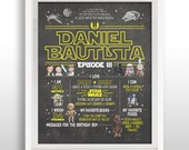 CUSTOMIZED PRINTABLE Star Wars Birthday Chalkboard Sign, Birthday Party Decor, Keepsake, DOWNLOAD, Personalized .jpg File with Custom Text