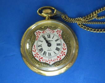 Vendome 17 Jewel Pocket Watch with Necklace Chain RUNS!