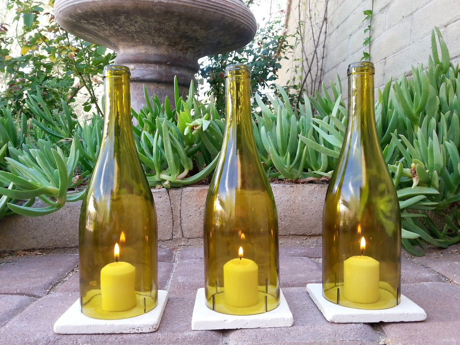 Wine Bottle Candle Holders With Tiles Wine Gifts Candle