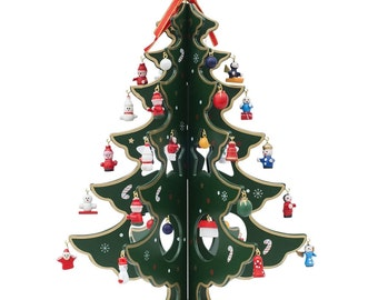 """12.5"""" Wooden Tabletop Christmas Tree with Miniature Christmas Ornaments- SKU # FT931110G"""